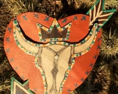 Crowned Cow Skull - Metal Heart - Rusty Salvage - Folk Art - Arrow - Original By Cathy DeLeRee