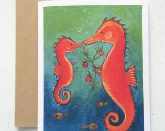 Seahorse Family Christmas Card by Megumi Lemons