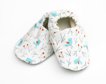Blue Bird Organic Cotton Baby Shoes -  0 3 6 12 18 months Shoes / Booties Eco Friendly Blue Birds and Winter Berries on White