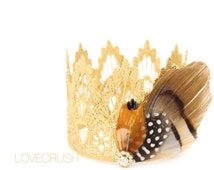 Native Princess || Pocahontas || Sienna || gold MINI lace crown headband with peacock + pheasant feathers || headband option