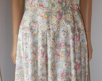 Floral Dress Bow at Waist Pleated Skirt Tanner Vintage Dress 1970s