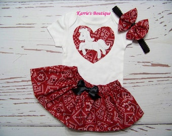 Cowgirl Pony Outfit / Onesie or Shirt + Skirt / Red + White / Bandana Heart / Western / Infant / Baby / Girl / Toddler / Boutique Clothing