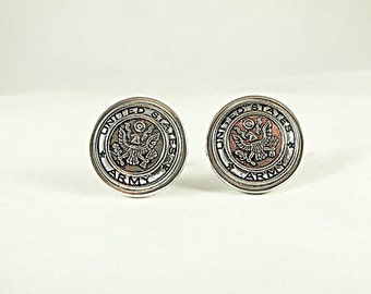 Mens Cufflinks , United States Army Silver Framed Mens Accessories  Handmade