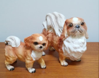 Pekingese Dog Figurines / Shafford Blue Ribbon / Adult and Puppy / Large Porcelain Dogs