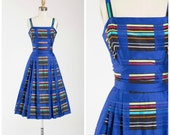 Reserved // Vintage 50s Dress • Monumental Treasure • Square Striped Print 1950s Dress by Pat Premo Size Small