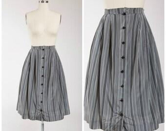 1950s Vintage Skirt • Hello Stranger • Grey Striped Taffeta 50s Button Front Skirt Size Medium