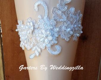 White Silver Wedding Garter set/  Silver Metallic Edged Lace Bridal Garter Set/ HAND BEADED Wedding Garter Belt/ White Lace Garter/ OOAK