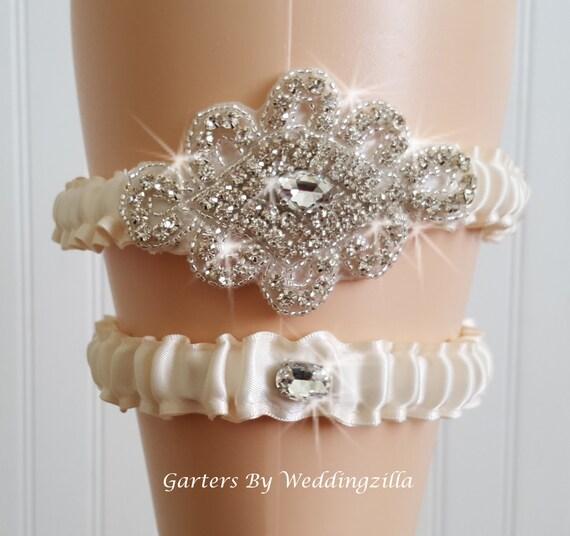 Plus Size Wedding Garters: Sexy Plus Size Wedding Garter Set Ivory Garter Set Crystal