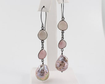 Kasumi like pearl long earrings, ripple pearls, pink sapphires, black oxidized sterling, mauve, nucleated, large freshwater: Simply Adorned