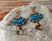 Zen. Artisan Gold Brass Fan Drop Earrings with Wire Wrapped Teal Iolite, Labradorite, Smoky Quartz, & Tribal Brass. Gypsy Blue Boho Handmade