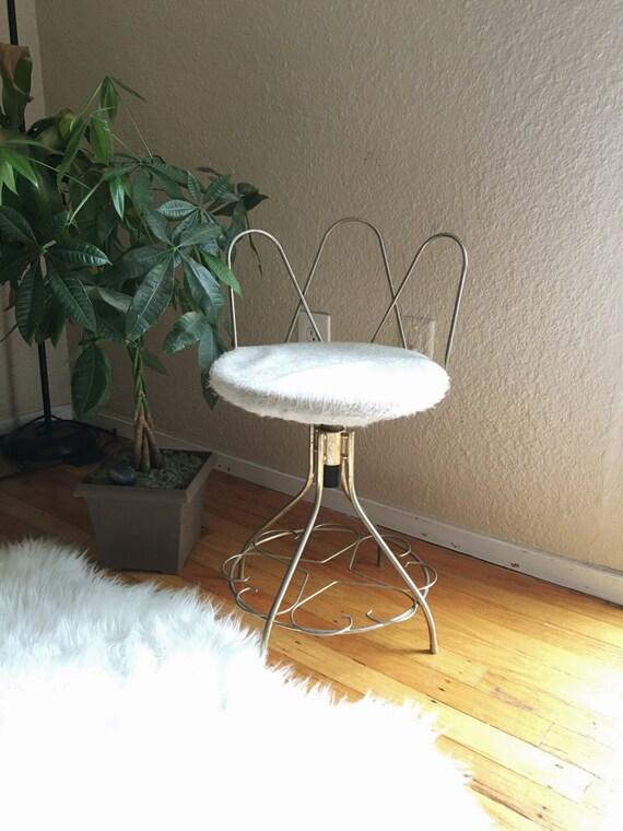 Hollywood Regency Gold Metal Vanity Chair Stool