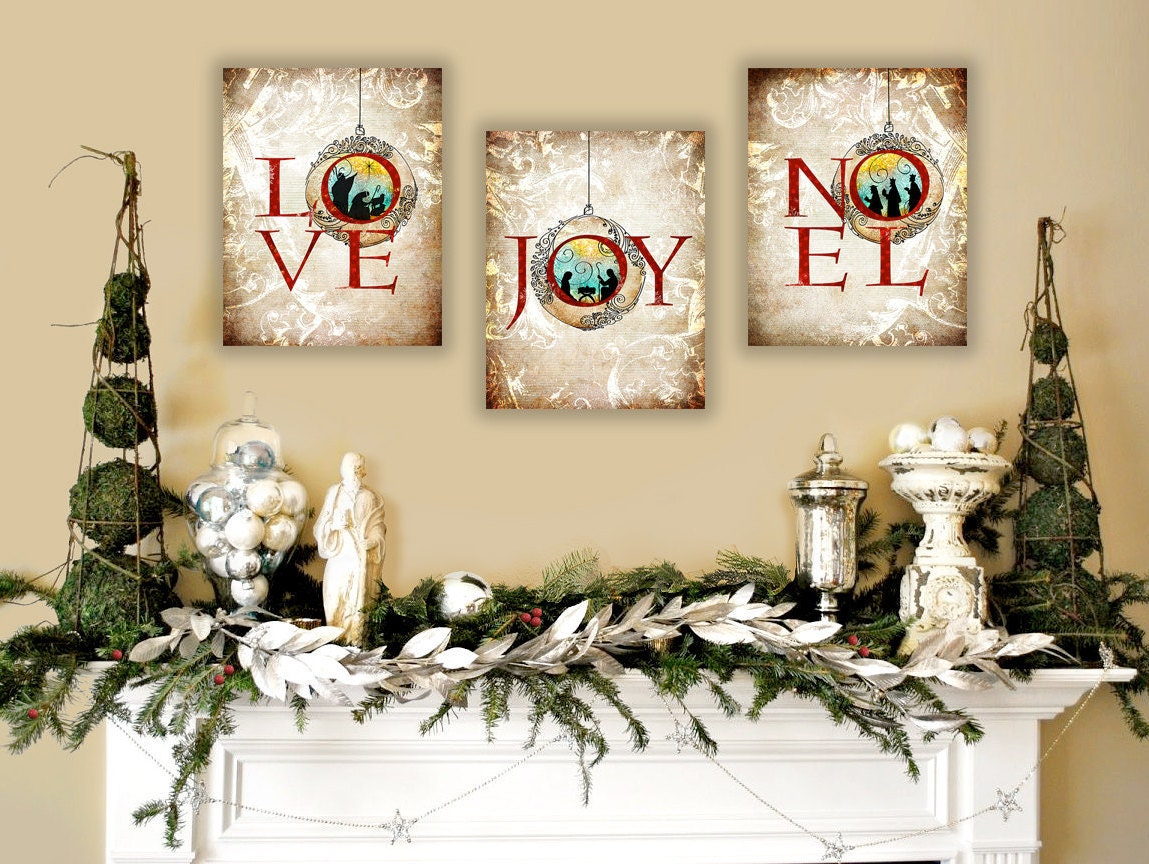 Religious Christmas Wall Decor : Nativity wall art christian christmas set of unique
