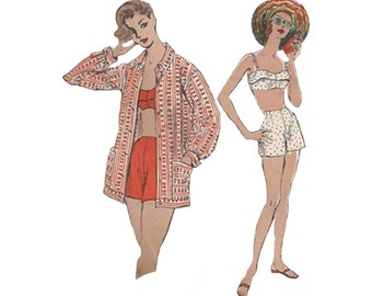 Vintage 1950s Two Piece Bathing Suit Beachwear Bust 32 Vogue Sewing Pattern 8867 High Waist Trunks with Fitted Shaped Bra Top & Over Blouse