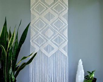 "Large Macrame Wall Hanging - Natural White Cotton Rope on 24"" Wooden Dowel - Geometric Boho Home, Nursery Decor, Curtain - Ready To Ship"