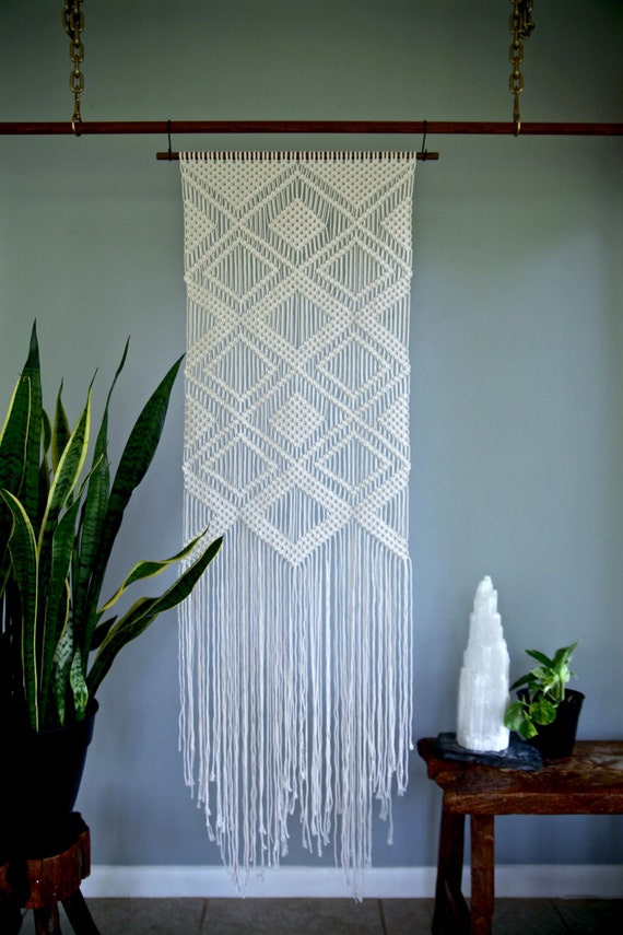 Large Macrame Wall Hanging Natural White Cotton Rope On