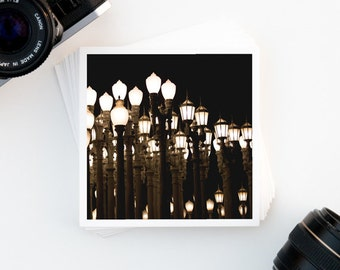 Fine Art Photography,  Los Angeles, LACMA Art Print, Street Lamps, Night Photography, Affordable Wall Art, Square Print, Gallery Wall Print