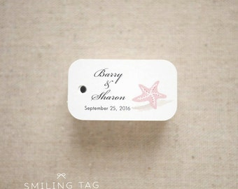 Beach seaside theme Wedding Favor Tags - Beach Gift Tags - Starfish Thank you tags - Beach Wedding Favor Tags - Set of 40 (Item code: J547)