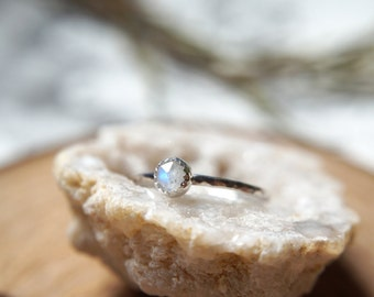 Thicker Rainbow Moonstone rose cut cabochon / hammered stacking ring / Sterling Silver / June Birthstone / Knuckle ring