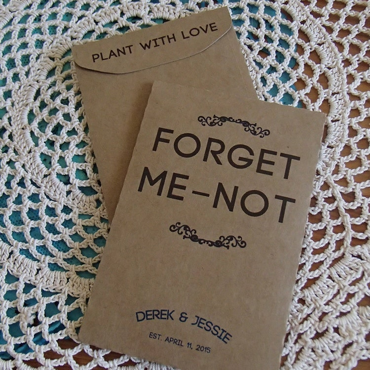 20 custom seed packet wedding favor forget me not by. Black Bedroom Furniture Sets. Home Design Ideas