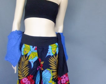 floral shorts, gaucho, culottes, walking shorts, tropical print shorts, large