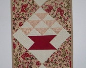Red Baskets Table  runner - Quilted Wall Hanging -  Traditional - Dresser Scarf