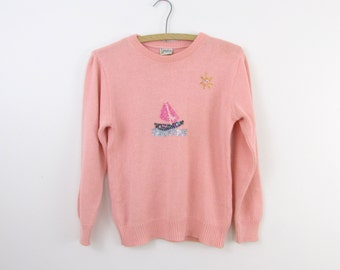 Sunny Sails Beaded Nautical Sweater - Vintage 1980s Pink Sailboat Top in Small by Birimbao