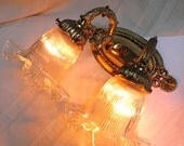 Vintage Brass Sconce 2 Lights w/Amazing Ruffled Glass Shades Pristine Condition & Very Very Pretty