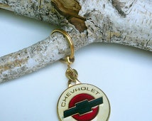 Chevrolet Car Keychain Logo, Vintage Chevrolet Key Holder, Rare Chevy Keyring Charm Signed on the Back, In Very Good Condition Ready to Ship
