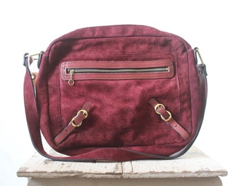 Vintage 70's Oxblood Suede Leather Handbag