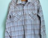 SALE Vintage 70s Levis Western snap button shirt / big E / lightweight sawtooth blue plaid / mens size large