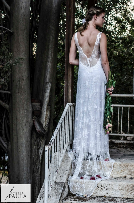 Vintage Lace Wedding Dress Bohemian Wedding Dress Chiffon Wedding Dress Paulastudio Wedding Dress Boho Weddi Simple Wedding Dress