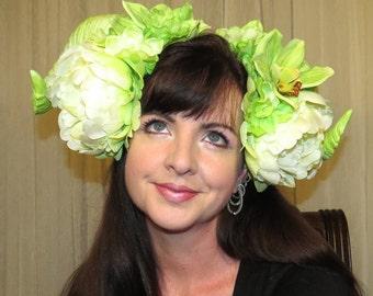 TROPICAL DEMON Spring Green and White Devil Horns Headdress Hair Adornment ooak