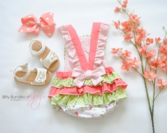 """Baby Tropical Bubble Romper with Ruffles - """"Be a Flamingo"""" Romper - Baby Beach Outfit - Tropical Baby Outfit - Tropical Flamingo Romper"""