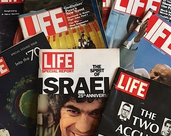 ON SALE - Group Of Vintage Life Magazines From The 1960's 1970's 1980's - Collectible Life Magazines - Group of 9 Vintage Life Magazines
