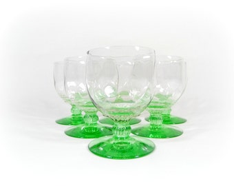 Vintage Green Wine Glasses Sherbet Cup Stemware Coupe Set Green Depression Glass Optic Glassware CAMBRIDGE Glass Wine Claret SET of 6