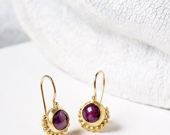 Ruby Earrings - Gold Earrings -  22k Solid Gold Earrings - Dangle Earrings-  Ruby Jewelry -  Fine jewelry - July birthstone/