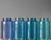 Blue Glass Jar Centerpiece Decor- Mason Jars in Brilliant Shades of Blue for Vase or Lantern