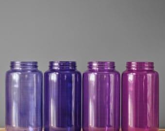Jewel Toned Glass Vessel for Boho Tabletop Decor, Mason Jar for Vase or Candle Holder