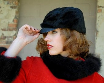 Vintage black fur cap, faux leather brimmed hat, fall winter 1960s 1970s