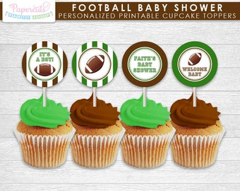 Football Theme Baby Shower Cupcake Toppers | Green & Brown | Personalized | Printable DIY Digital File