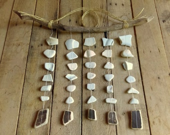 Beach pottery mobile / beach ceramic mobile / beach mobile / beach wall hanging