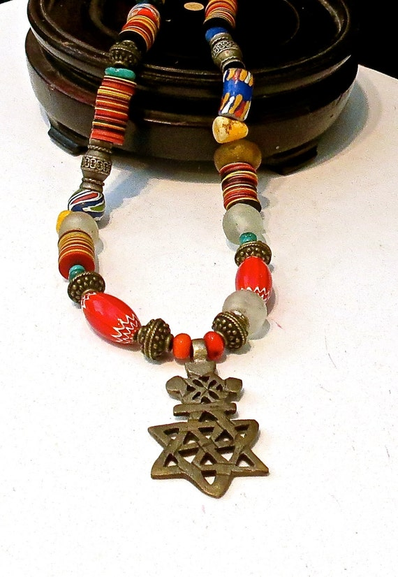 Single Strand Necklace - BOHO Beaded Necklace - Chevron Beads - Star of David Pendant - African Trade Beads- Joy Moos Collection