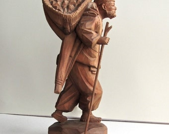 Chinese Wood Stature, Cultural Revolution Peasant Man, Rare, Signed, Circa 1958-60, Purchased in Taiwan, Shoalin Market, BEST OFFER