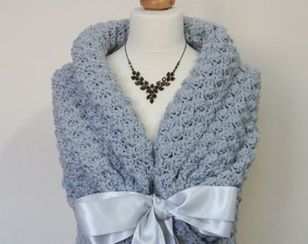 Silver Gray Shawl, Bridal Shawl, Romantic Wedding Bolero, Winter Wedding Shrug, Bridal Cape, Bridesmaid Capelet, Gray Wrap, Silver Cover Up