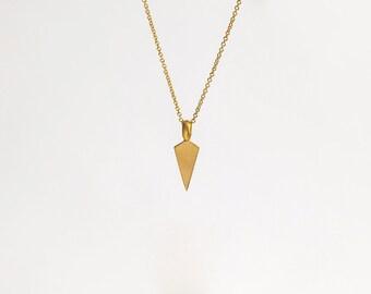 22k Solid Gold Pendant, Gold Necklace, Triangle Pendant, Arrowhead Pendant, Layered Pendant, Vertical Necklace Men, 22k Gold
