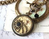 Antique Button Necklace Toggle, Intricately detailed Celluloid and Metal Victorian Button c.1890, Antique Button Jewelry veryDonna Sutor