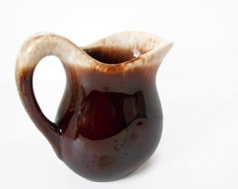 Vintage McCoy Creamer - Brown Drip Pottery - Coffee Creamer - Farmhouse Kitchen - Milk Pitcher - Breakfast in Bed