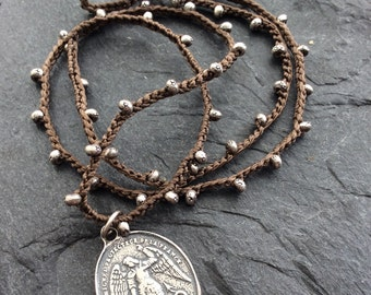 Crochet silver necklace - 'Archangel' organic jewelry, boho layering religious and faith jewelry by mollymoojewels