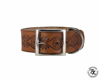 Leather Dog Collar, Embossed Leather Dog Collar, Leather Pet Collar. 1.5 Inch Wide Embossed Leather Dog Collar