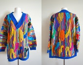 Vintage Rainbow Coogi V Neck Sweater, Authentic Coogi, Size M, Unisex 80s 3D Textured Tunic, Psychedelic Trippy
